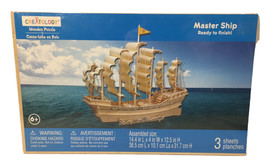 """Creatology Wooden Puzzle 3D """"Master Ship"""" Ready To Finish 14.4"""" x 4"""" x 1... - $15.83"""