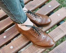 Stringalong Baker's Chocolate Brown Full Brogue Wingtip Women Leather Shoes - £105.17 GBP - £145.62 GBP