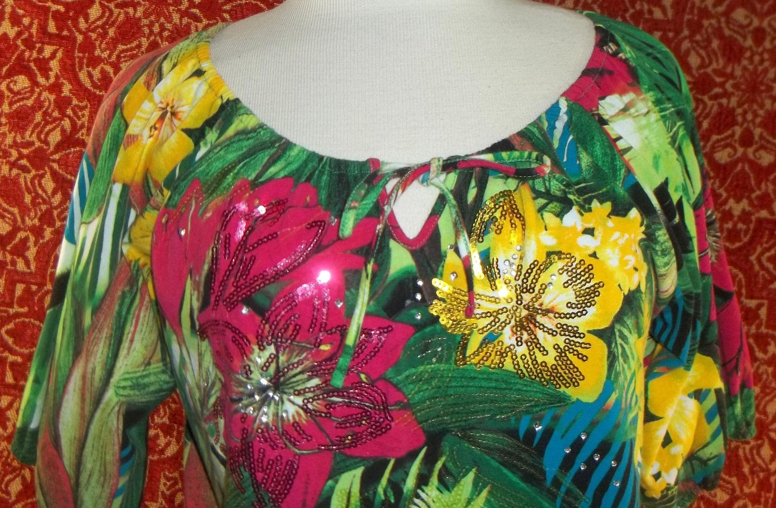 THOMAS & OLIVIA stretch cotton floral short sleeve tunic blouse PL (T2503C8G) image 2