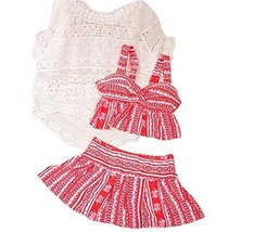 Three-piece Sets Of Women Fashion Slim Swimsuit With Smock[Red] - $30.97
