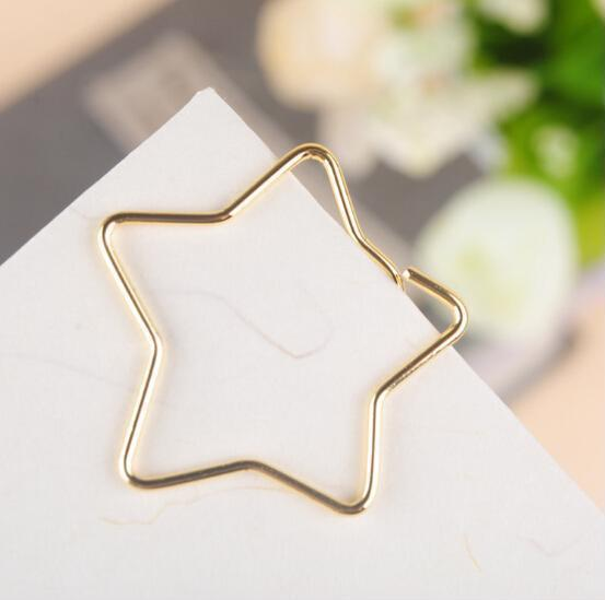 5pcs/lot Stars Shape Paper Clips Creative Bookmark Memo Clip Paper For Office