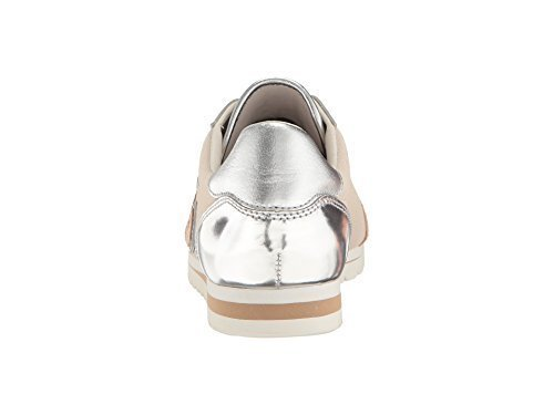 COACH Women's Ian Silver/Chalk Mirror Metallic/Suede Shoe