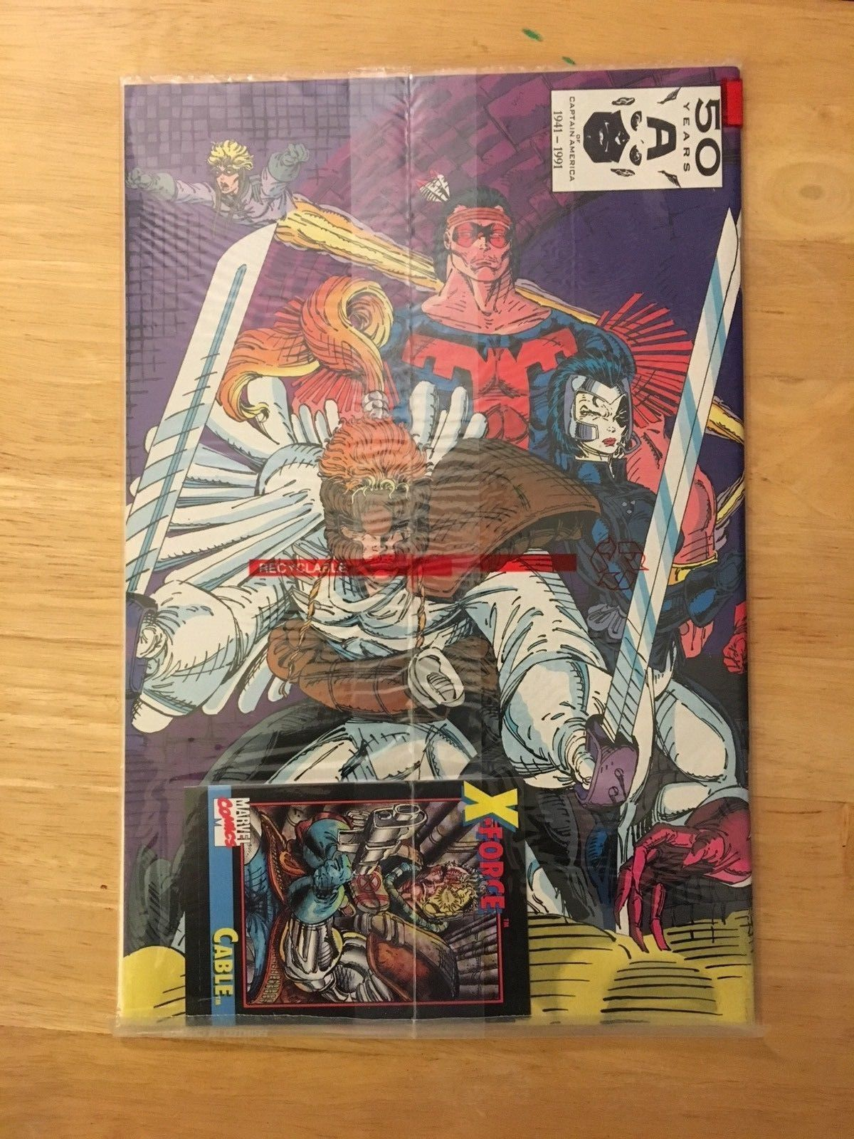 X-Force #1 1991 Marvel Comic Book NM 9.2 Condition Cable Trading Card - Bagged