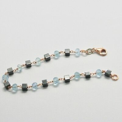 Silver Bracelet 925 with Aquamarine Faceted and Hematite Made in Italy image 4