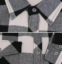 Men's Premium Cotton Button Up Long Sleeve Plaid Black/Cream Flannel Shirt - L image 3