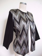 Chico's Travelers Knit Jacket Cardigan 1 M 8 Black Sequin Silver Gold Zi... - $9.49