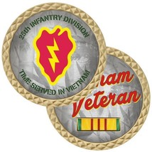 "ARMY 25TH INFANTRY DIVISION VETERAN TIME SERVED IN VIETNAM 1.75"" CHALLEN... - $17.14"