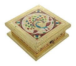 Dry Fruit Box Serving Tray Diwali Decorative Peacock Meenakari Platter Box - $33.39