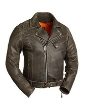 60's New Yorker Mens Distressed Leather Motorcycle Jacket Waist Belt - $284.98+