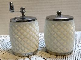 Vintage Olde Thompson Milk Glass Diamond Point Pepper Mill Salt Shaker Set - $12.99