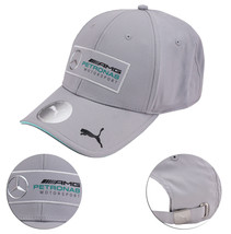 Mercedes Puma Men's Embroidered Cotton Team Silver Baseball Cap Strapback Hat