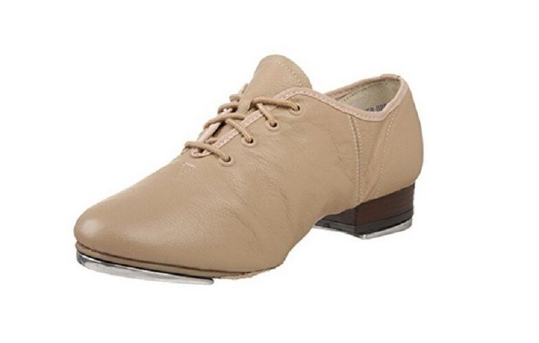 Leo's 5056 Tan Adult 4M (fits size 3.5) Leather Split-Sole Jazz Tap Shoe