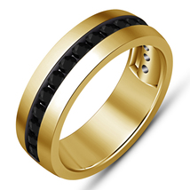 Single Row Black Sim Diamond Yellow Gold Finish New 925 Silver Mens Wedding Ring - $82.99