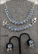 Vintage Blue Rhinestones Necklace Bracelet and Earrings (#J1356) - $68.00