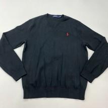 Polo Ralph Lauren Knit Sweater Men's Medium Long Sleeve Black V Neck Pim... - $24.95