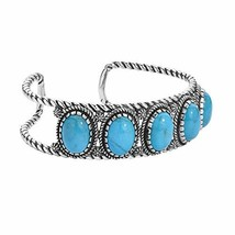 925 Silver & Five Stone Turquoise Cuff Bracelet - Large - $254.58