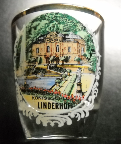 Primary image for Linderhof Konigsschloss Shot Glass Linderhof Castle on Clear Glass Gold Rim