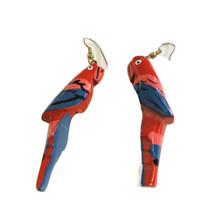 """Vintage Wood Carved Parrot Earrings 2"""" Dimensional Bird Earrings J6955 - $8.54"""