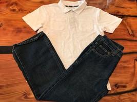 Gymboree Boys' White Polo Dress Shirt w/ Denim Adj. Waist Jeans NWT GYM26 - $21.99