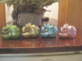 4 Glass Pastel  Bunny Ornaments   Assorted Glass Rabbits  - $37.61