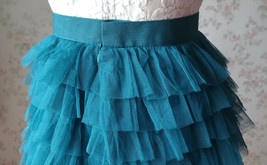 DEEP GREEN High Waist Knee Length Tiered Tulle Skirt Wedding Party Tulle Skirts image 7