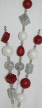 TII Collections Glittery Silver White Red Holiday Round Square Cylinder Spray image 2