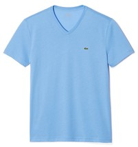 Lacoste Men's Premium Pima Cotton Sport V-Neck Shirt T-Shirt Blue Lake