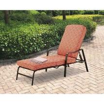 Outdoor Chaise Lounge Orange Geo Pattern Garden Comfort Stylish Relax De... - $119.86