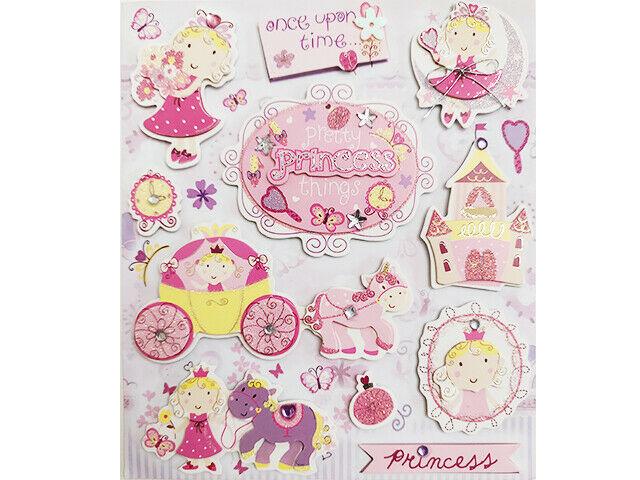 Pretty Princess Glittered Dimensional Stickers