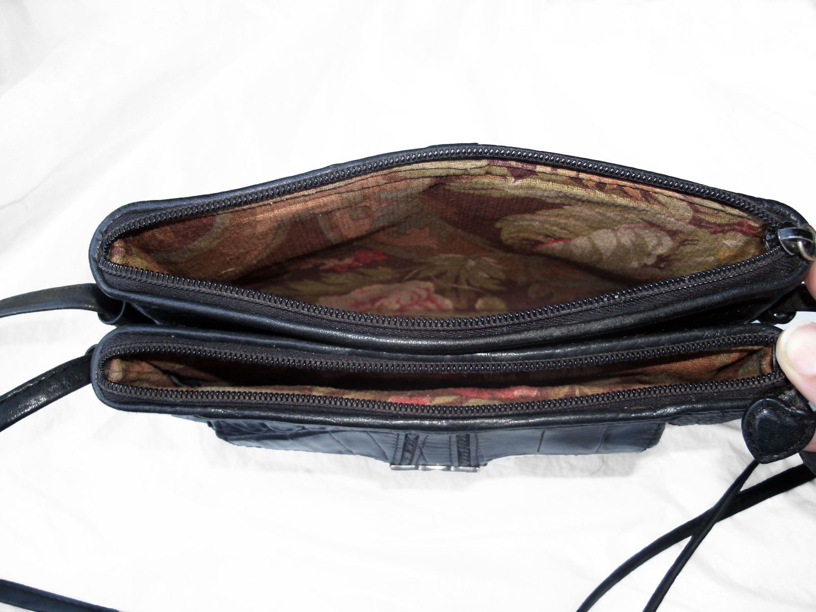 Brighton Croc and Pebbled Leather Cross Body Organizer Bag Black Silver Wallet image 12