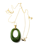 """14k Yellow Gold Jade Hoop Carved Pendant 1-5/8"""" x 23mm Thin 22"""" Necklace - $494.99"""