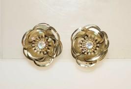 "Vintage AB Rhinestone 3D Flower Gold Tone Clip on Earrings 1.25"" - $13.00"