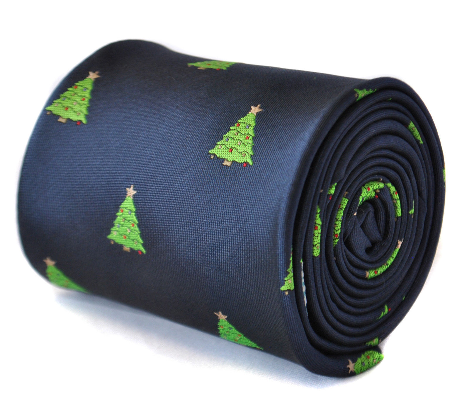 Frederick Thomas navy blue mens tie with christmas tree design FT2113