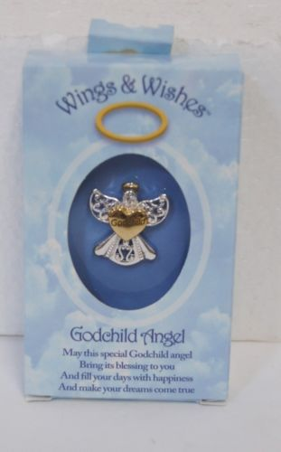 DM Merchandising Wings Wishes Godchild Angel Silver Gold Colored