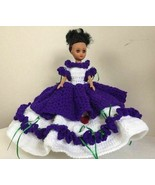 Victorian Fashion Dress Doll Hand Crochet Purple Ball Gown Wired Skirt V... - $41.72