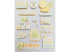 Baby Boy Glittered, Dimensional Sticker Set