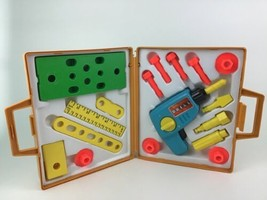 Tool Kit 924 Drill Building Wind up Toy Tool Case Fisher Price Vintage 1977 - $37.57
