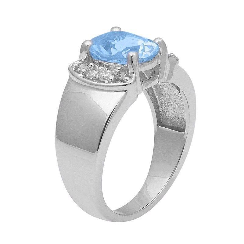 Blue Topaz & White Topaz 925 Sterling Silver Ring Shine Jewelry Size-8 SHRI1401