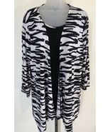 Travelers Collection CHICO's sz 2 zebra print blouse jacket 2 piece look - $19.79