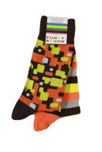 Funky Socks Men's Orange Patterned 2-Pack Socks, Sock Size 10-13 - $9.89
