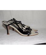 Sacha London BLACK/WHITE Rose Leather Strappy Heels 8B For Women Used - $34.64
