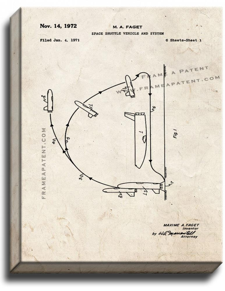 Primary image for Space Shuttle Vehicle And System Patent Print Old Look on Canvas