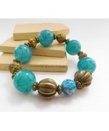 Retro Vintage Turquoise Blue Antiqued Gold Tone Bead Stretch Bangle Brac... - $14.44
