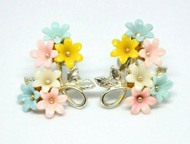Pastel Multi-Color Celluloid Flower Floral Silver Tone Screw Back Earrings - $19.79