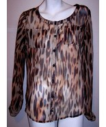 Newport News Top S Silky Sheer Button Up Animal Print Shirt Blouse Women... - $10.10