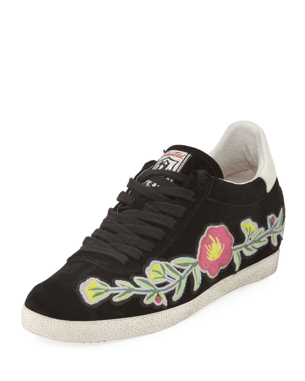 New $198 ASH Gull Black Floral Embroidery Sneakers Shoes Size 37 / 7 M