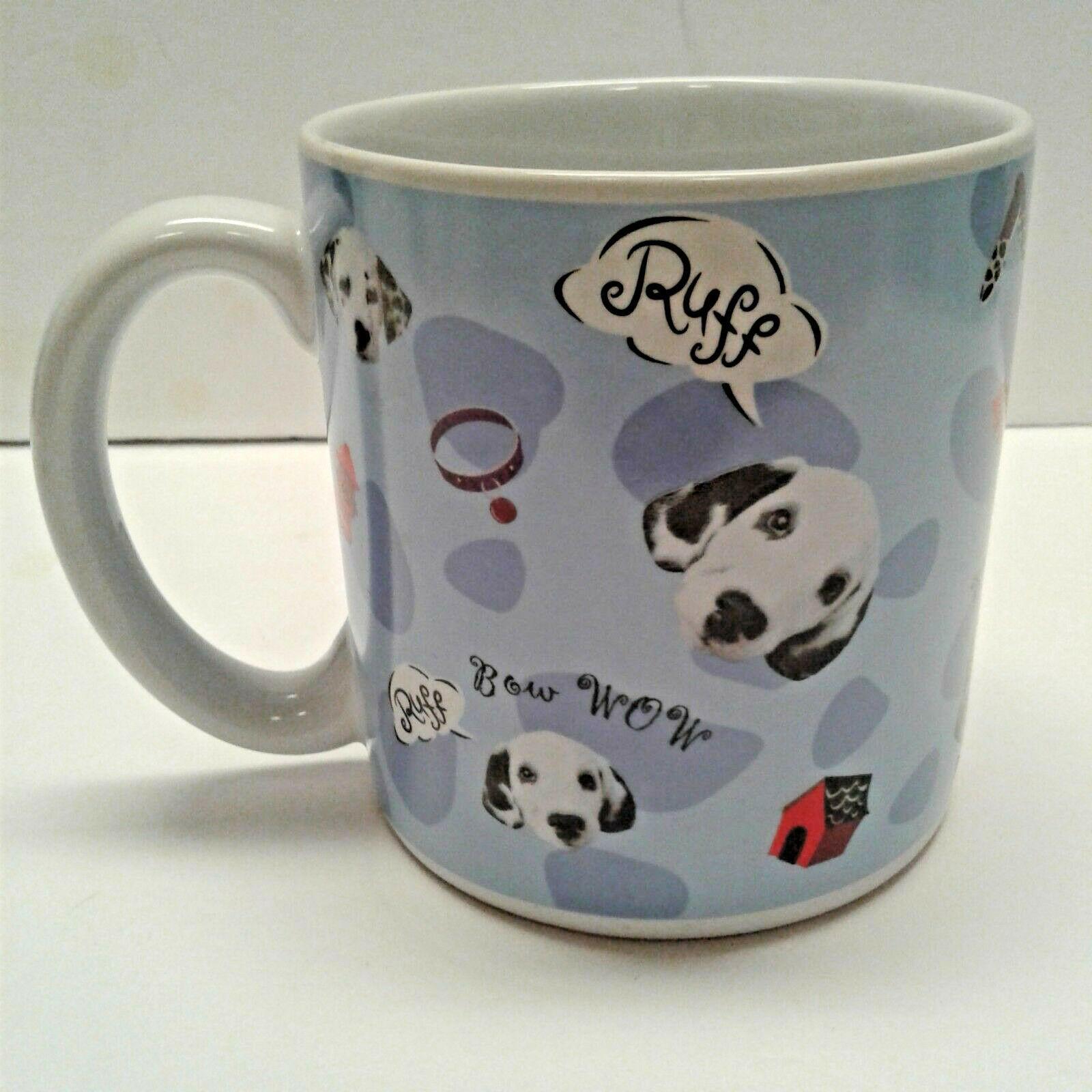 Disney Bow Wow Dalmations oversized 16 oz coffee mug Blue Bones Dog House