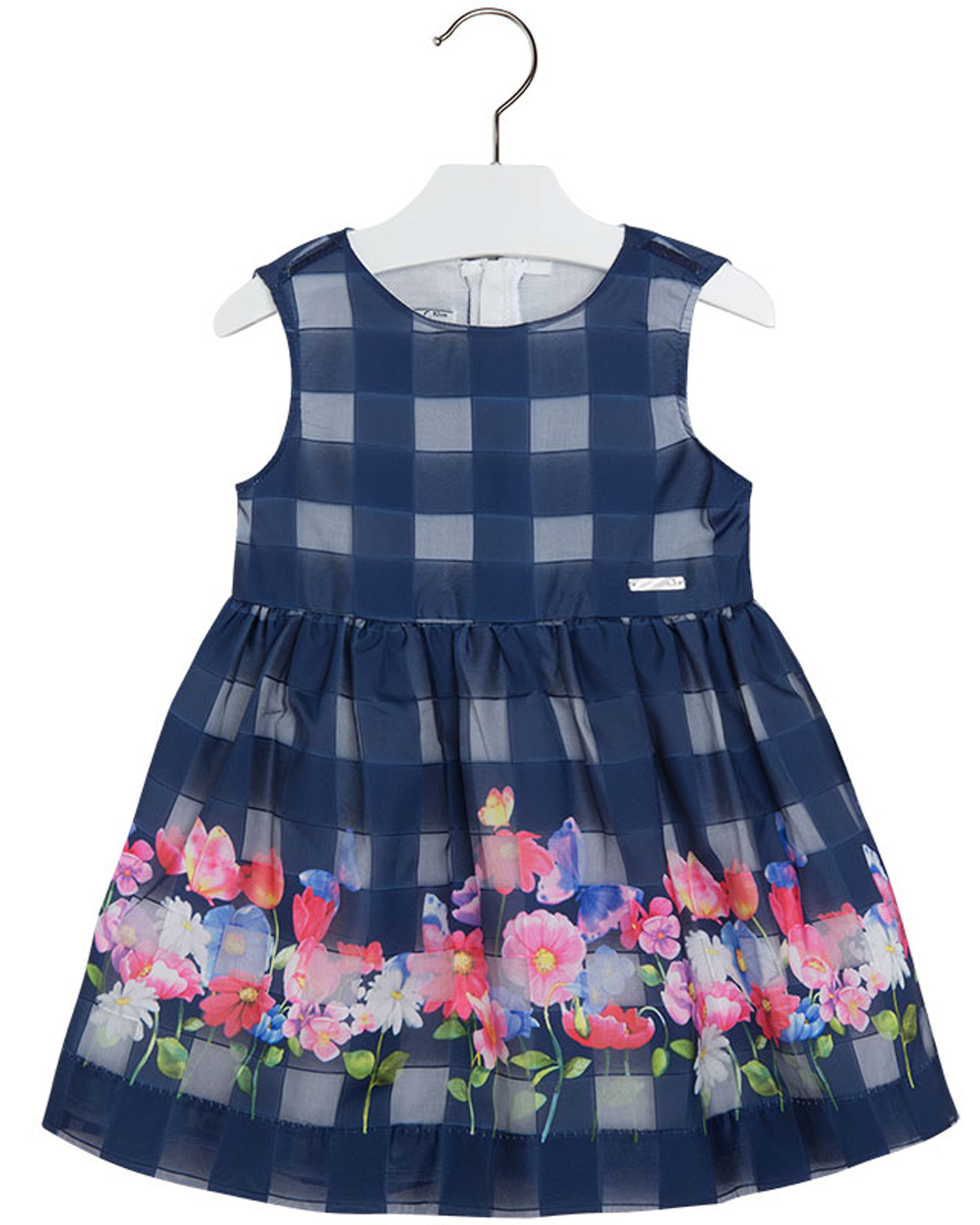 Mayoral Little Girls 2T-9 Floral Border Organza Check Social Party Dress