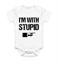 I'm With Stupid Funny Rude Humour Body Suit Baby Grow Vest Gift - $10.46
