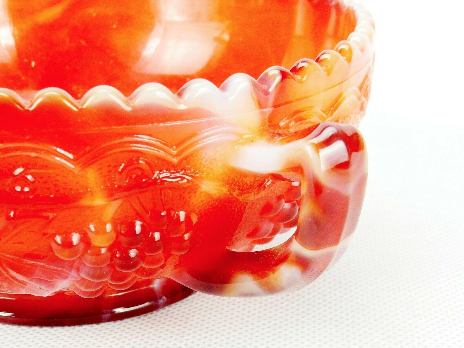 Imperial Slag Glass Single Handled Bowl, Red Orange & White Grape Design